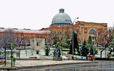 Palacio de Exposiciones de las Artes y la Industria Construido en Madrid por la Sociedad Anónima Internacional de Construcción y Públicas de Braine Le Comte (Bélgica) 1887. Acuarela
