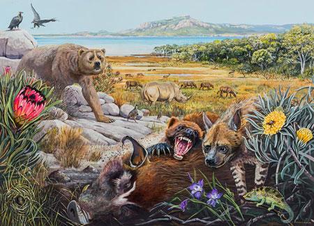 Reconstrución de la fauna y flora de Langebaanweg, Sudáfrica, hace 5 millones de años. Autora: Maggie Newman